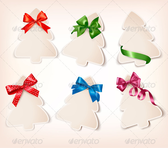 Set of Gift Cards with Gift Bows  - Christmas Seasons/Holidays