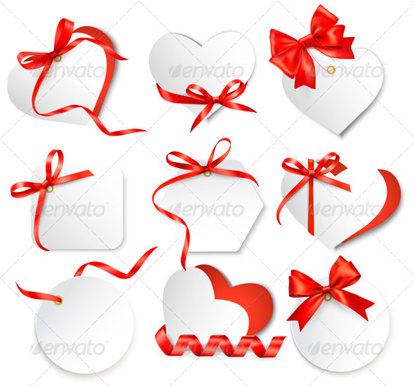 Set of Cards with Red Gift Bows. - Valentines Seasons/Holidays