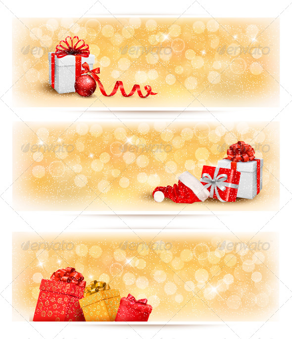 Set of Holiday Christmas Banners with Gift Boxes - Christmas Seasons/Holidays