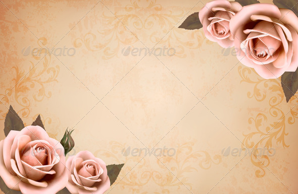 pink roses on a vintage old paper backgroundalmoond | graphicriver, Powerpoint templates