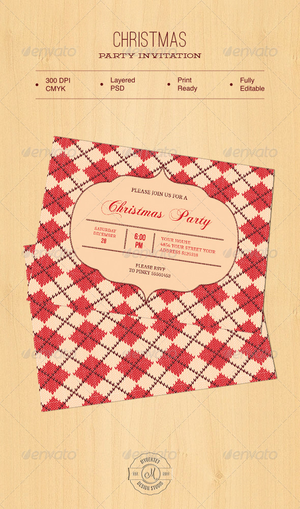 Christmas Party Invitation - Holiday Greeting Cards