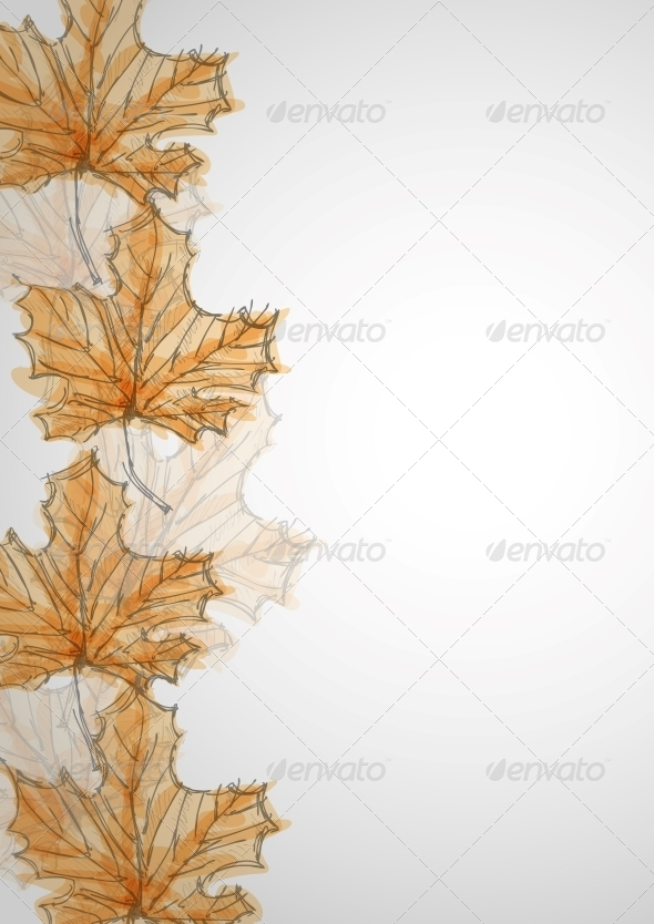 Hand Drawn Autumn Background - Seasons Nature