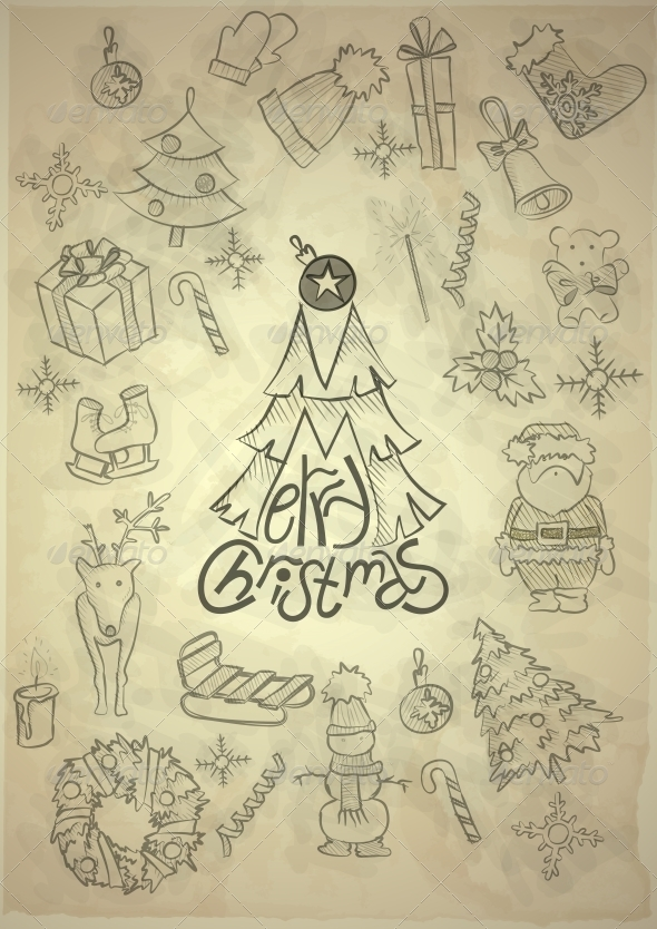 Hand Drawn Christmas Set - Christmas Seasons/Holidays