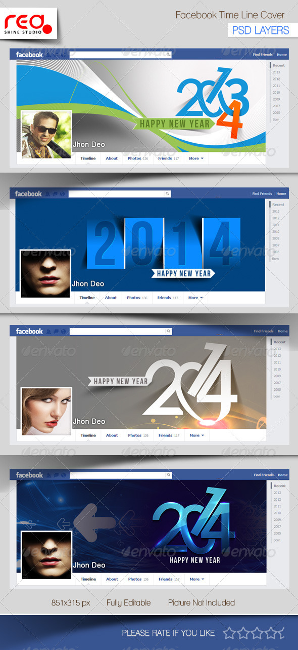 New Year's Facebook Timeline Template - Facebook Timeline Covers Social Media