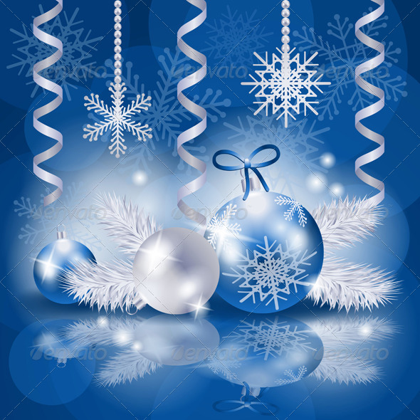 Christmas Background with Baubles in Blue - Christmas Seasons/Holidays