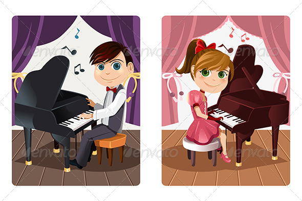 Kids Playing Piano - People Characters