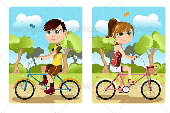 Kids Riding Bicycle - Sports/Activity Conceptual