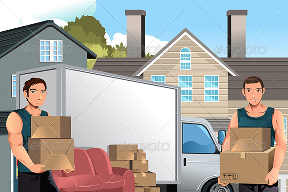 Moving Men with Truck and Boxes - Business Conceptual