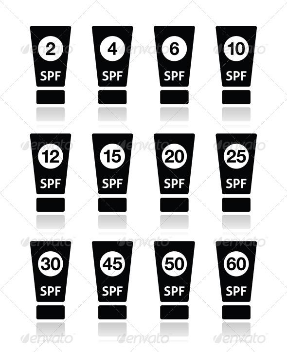 Sun Cream, Sunblock with factor or spv icons set - Abstract Conceptual