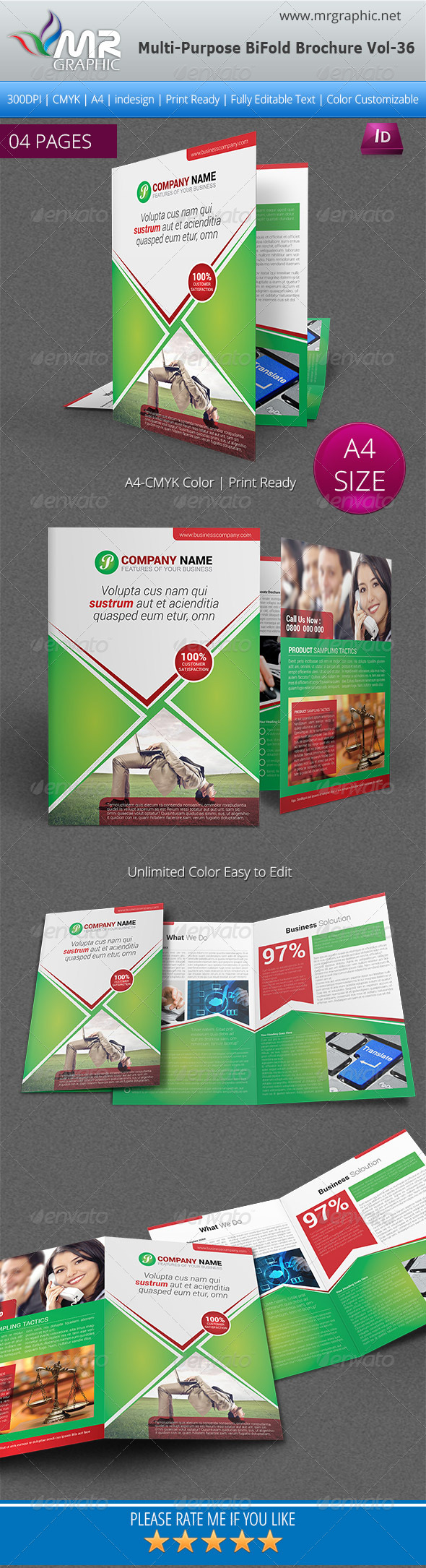 Multipurpose Bi-fold Brochure Template Vol-36 - Corporate Brochures