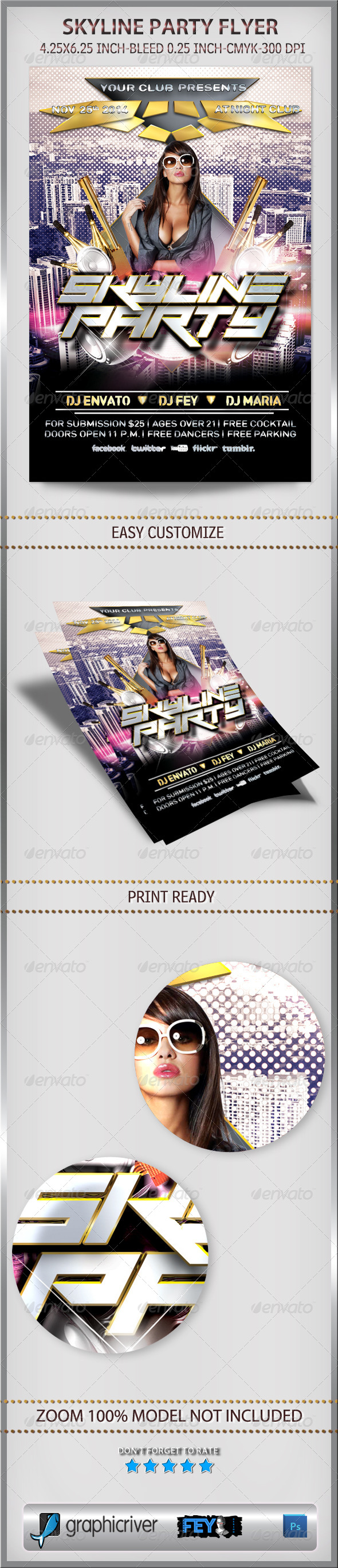 Skyline Party Flyer - Events Flyers