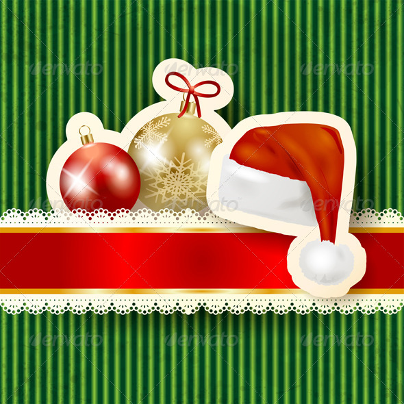 Christmas Background with Baubles and Hat - Christmas Seasons/Holidays