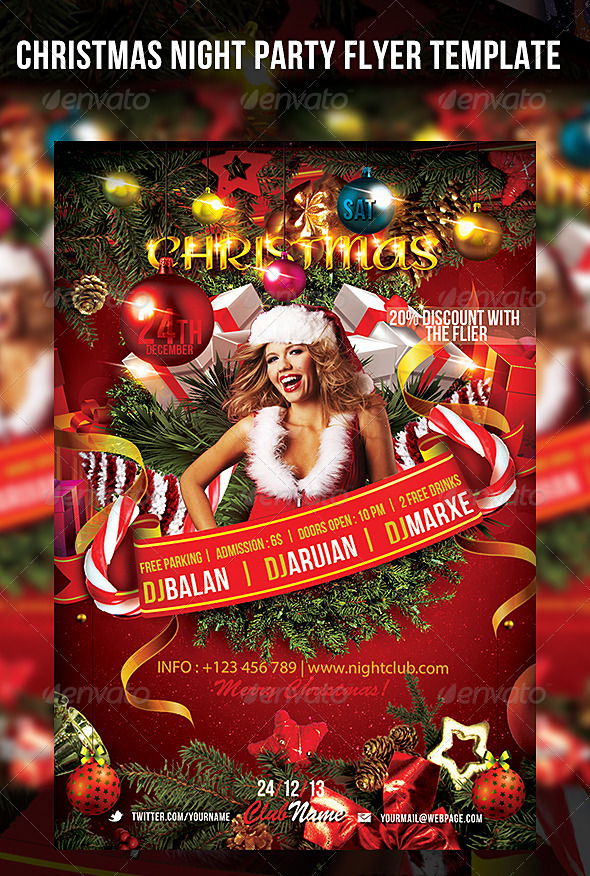 Christmas Night Party Flyer Template - Events Flyers