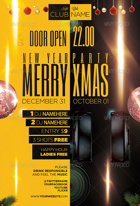 Christmas Party Flyer Template PSD - Events Flyers