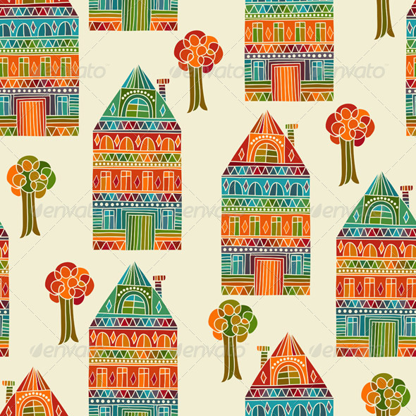 Vector Seamless Pattern with Houses and Trees - Patterns Decorative