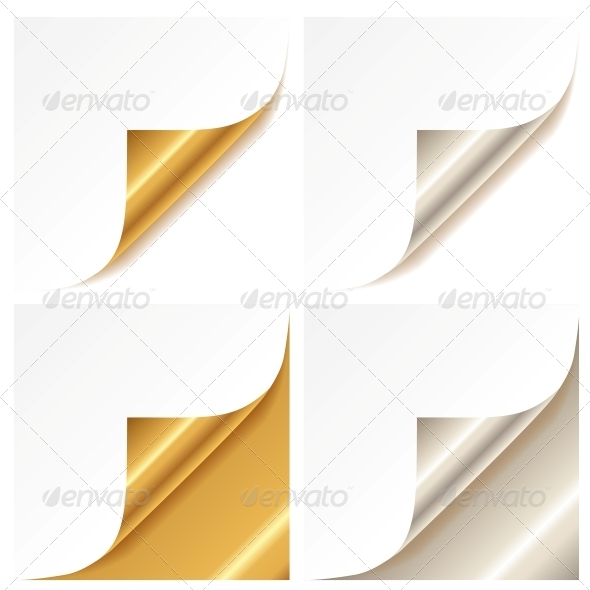 Curled Golden and Silver Page Corner - Borders Decorative