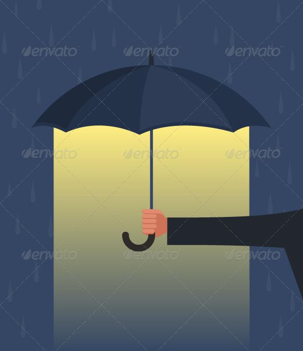 Hand Holding an Umbrella - Conceptual Vectors