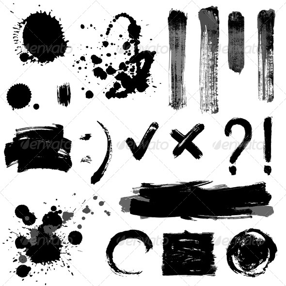 Grayscale Signs and Blots - Miscellaneous Vectors