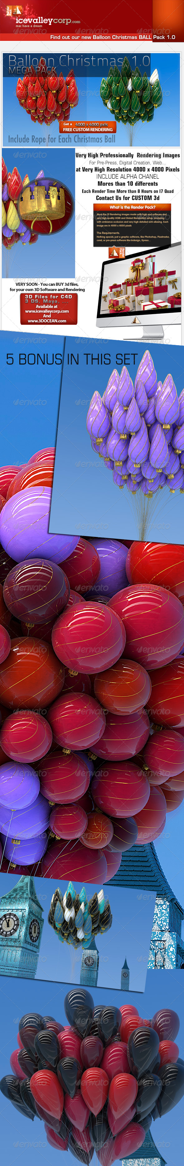 Christmas Balloon Ball Decoration-Hires - 3D Backgrounds