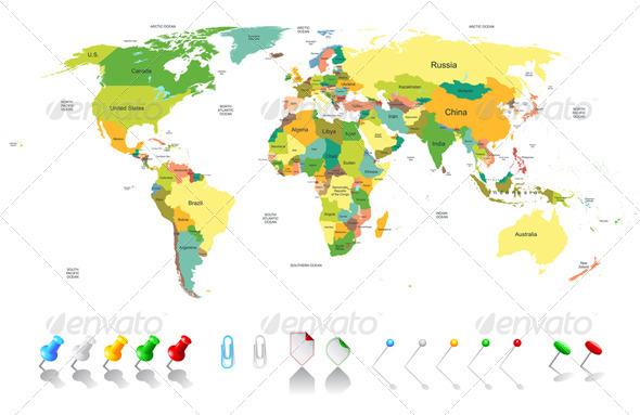 Political World Map  - Miscellaneous Vectors