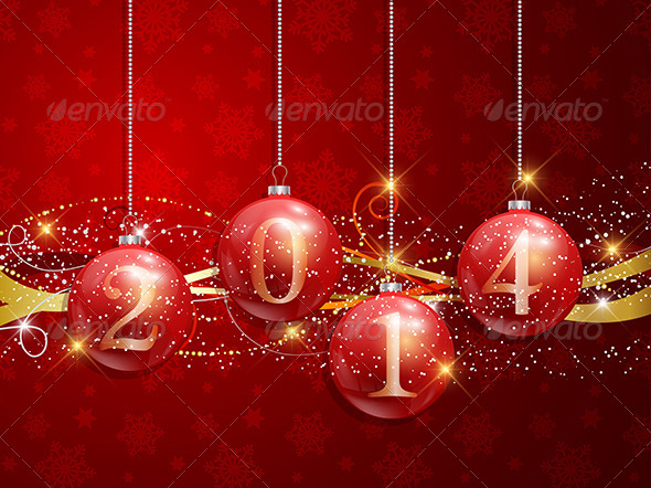 New Year Baubles Background - New Year Seasons/Holidays
