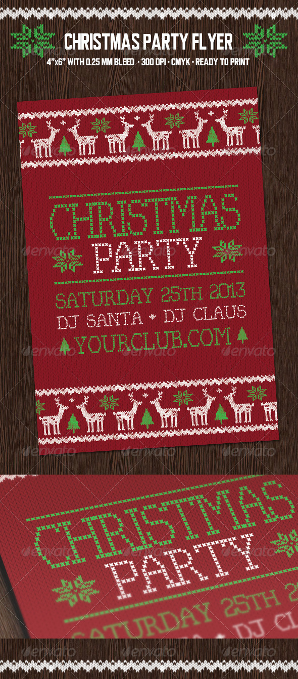 Christmas Party Flyer with Deers - Holidays Events