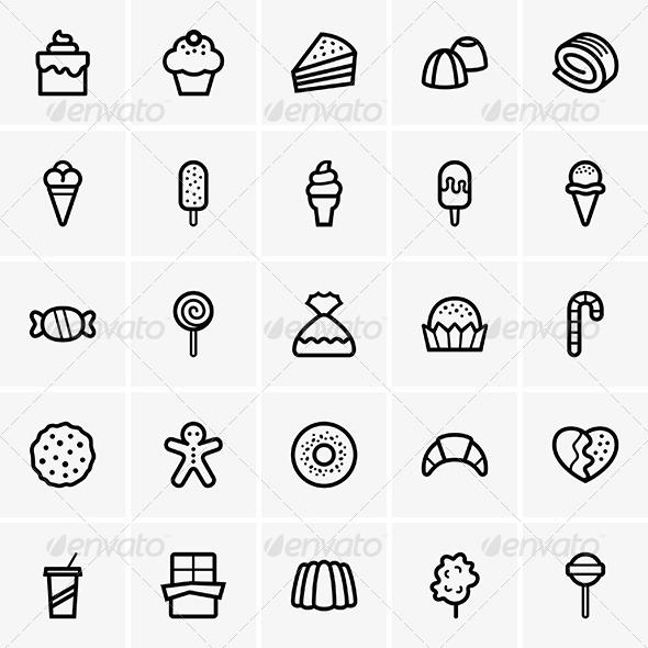 Sweets Icons - Decorative Symbols Decorative