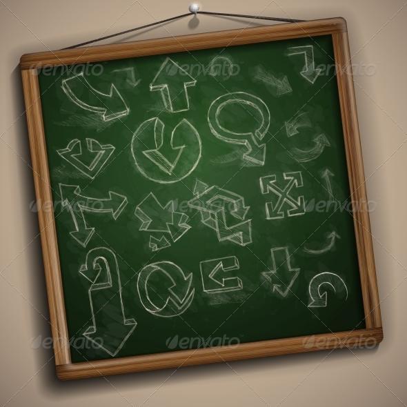 Set of Hand Drawn Doodle Arrows - Decorative Symbols Decorative