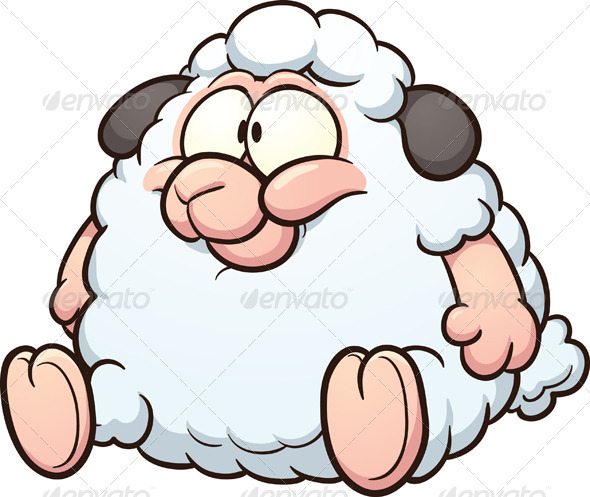 Fat Cartoon Sheep - Animals Characters