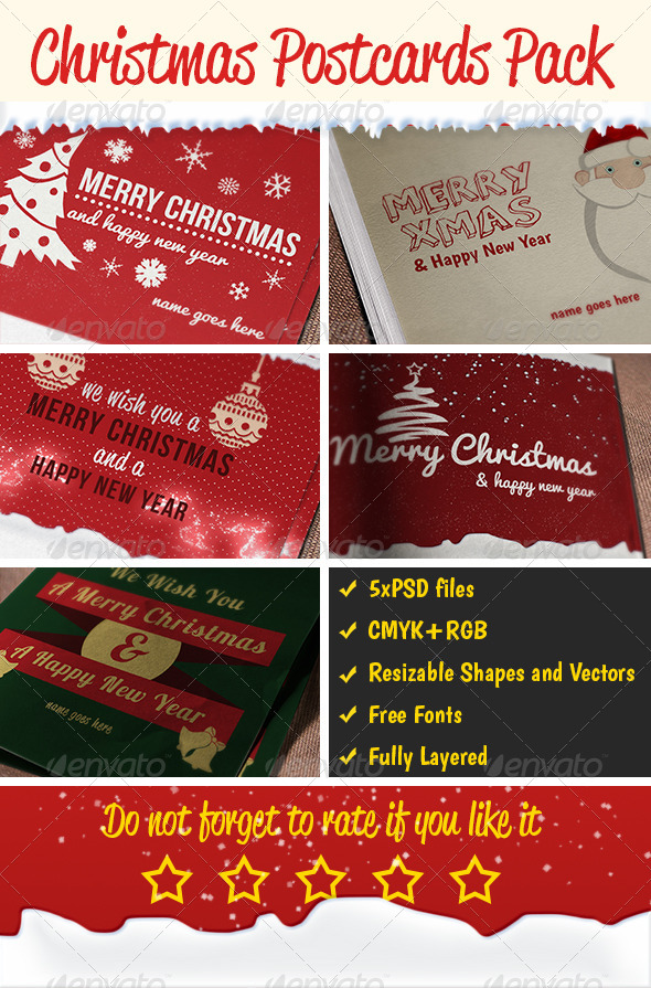 Christmas Postcards Pack - Holiday Greeting Cards