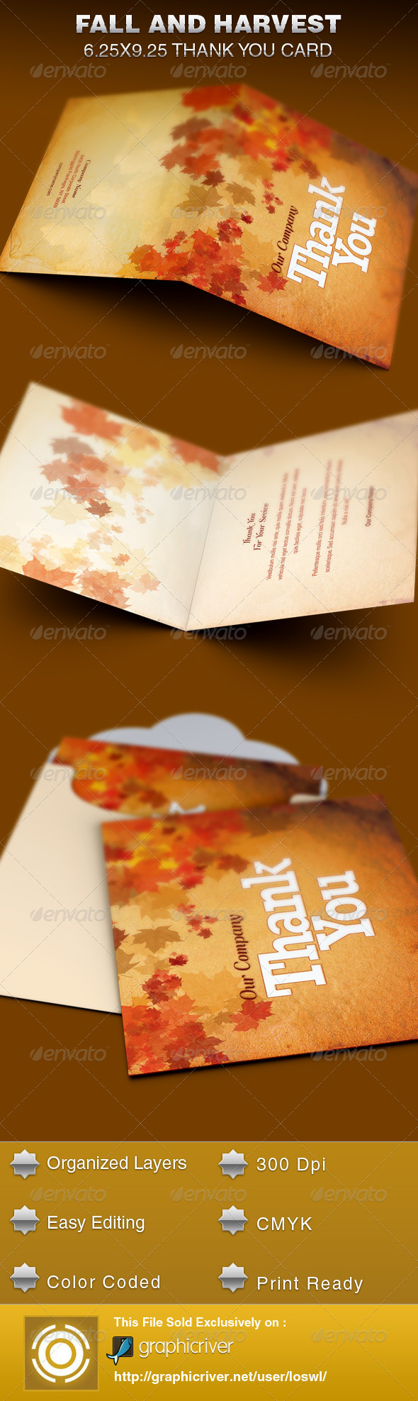 Fall and Harvest Thank You Card Template - Cards & Invites Print Templates