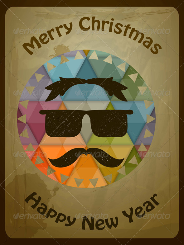 Vector Hipster Christmas Greeting Card - Christmas Seasons/Holidays