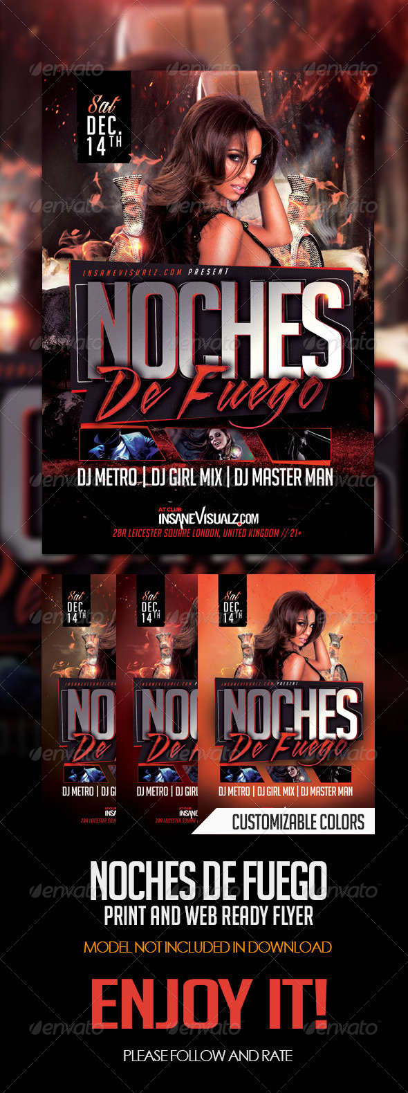 Noches De Fuego Latin Night Flyer - Flyers Print Templates
