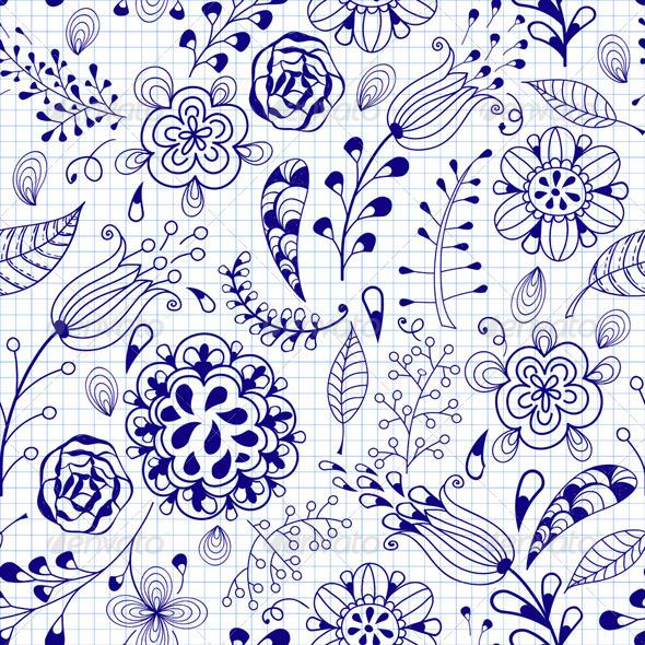 Seamless Floral Summer Doodle Pattern - Patterns Decorative