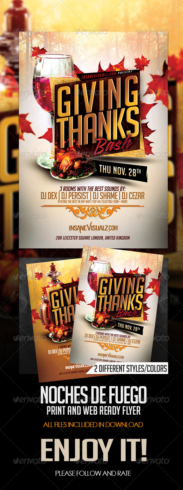 Giving Thanks Flyer Template - Clubs & Parties Events