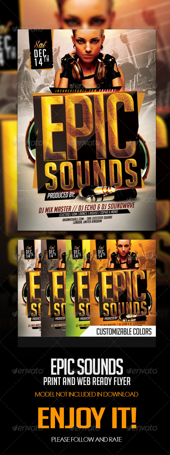 Epic Sounds PSD Flyer Template - Flyers Print Templates