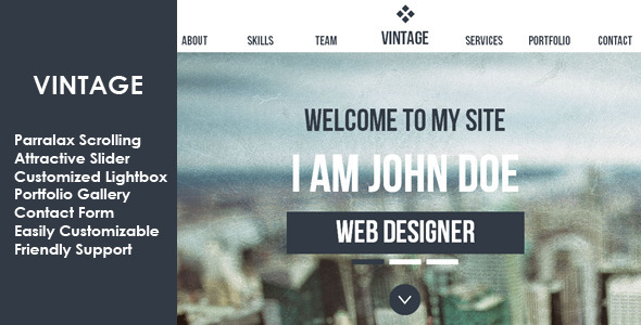 Vintage Multipurpose Parallax Muse Template - Corporate Muse Templates