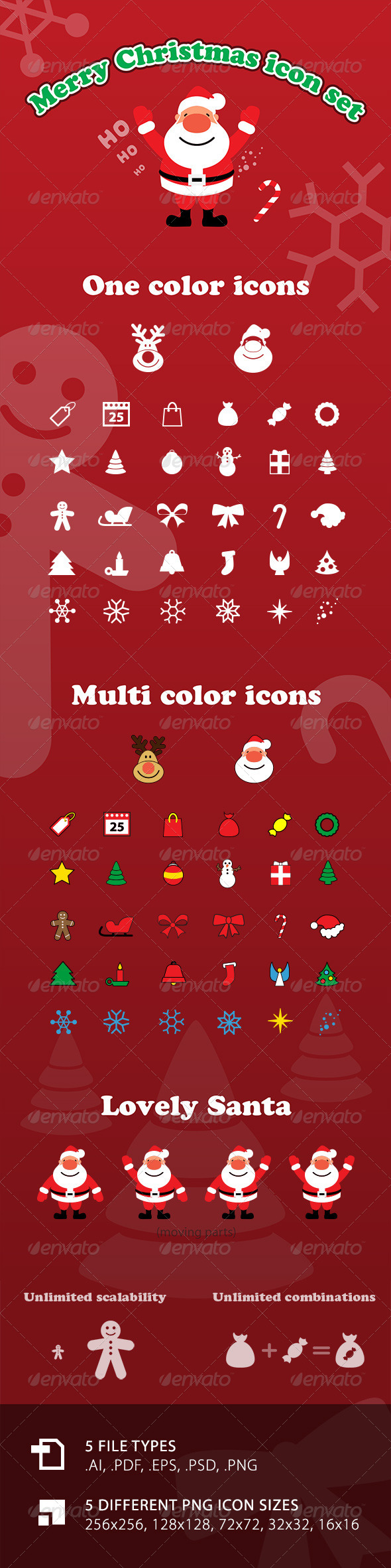 Vector Merry Christmas Icon Set with Santa - Seasonal Icons