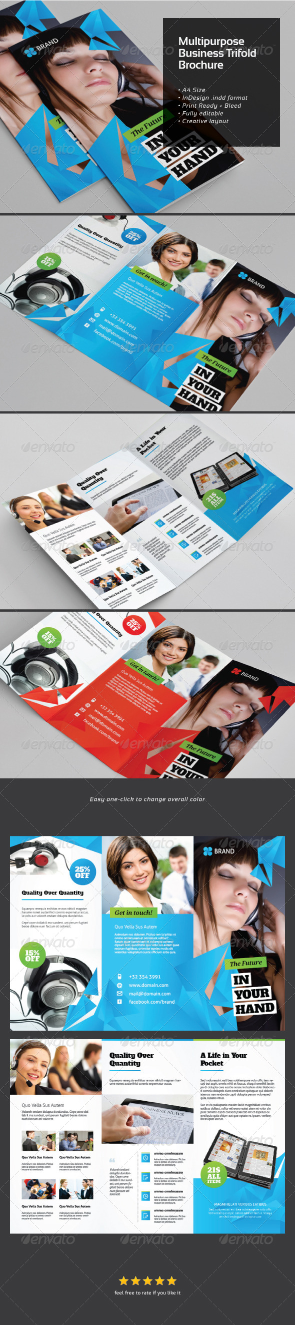 Multi-purposes Business Trifold Brochure - Brochures Print Templates