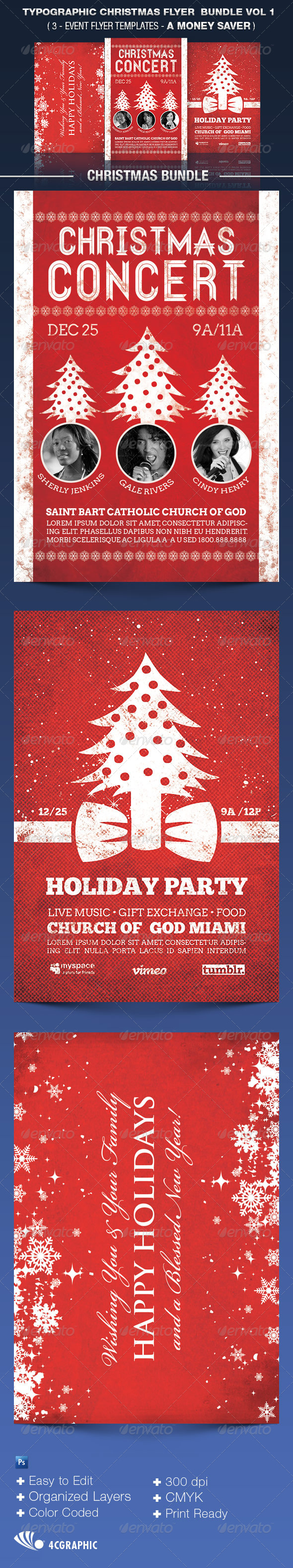 Typographic Christmas Flyer Bundle Vol 1. - Events Flyers