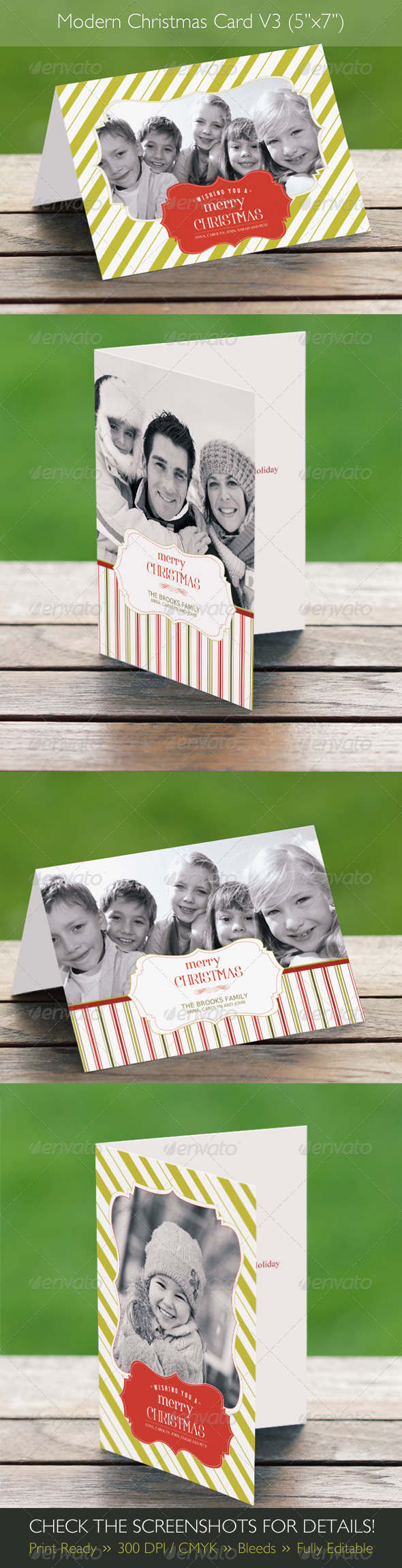 Modern Christmas Card V3 (4 in 1) - Holiday Greeting Cards