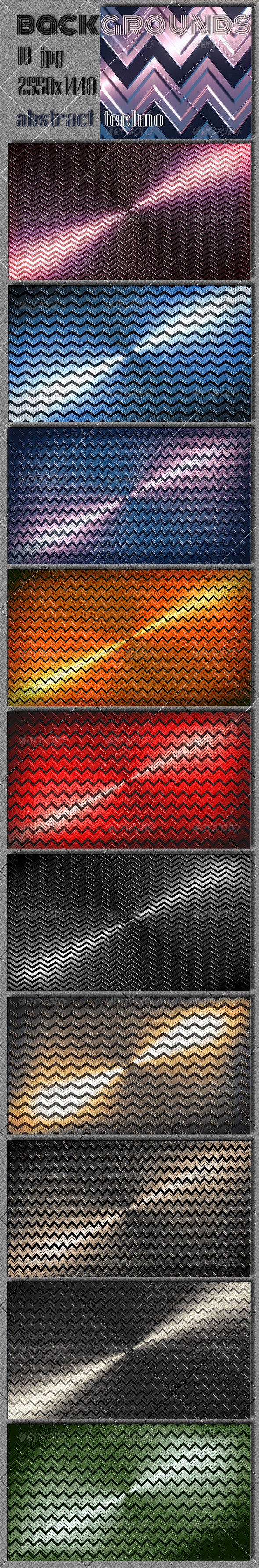 Techno Zigzag Backgrounds - 3D Backgrounds