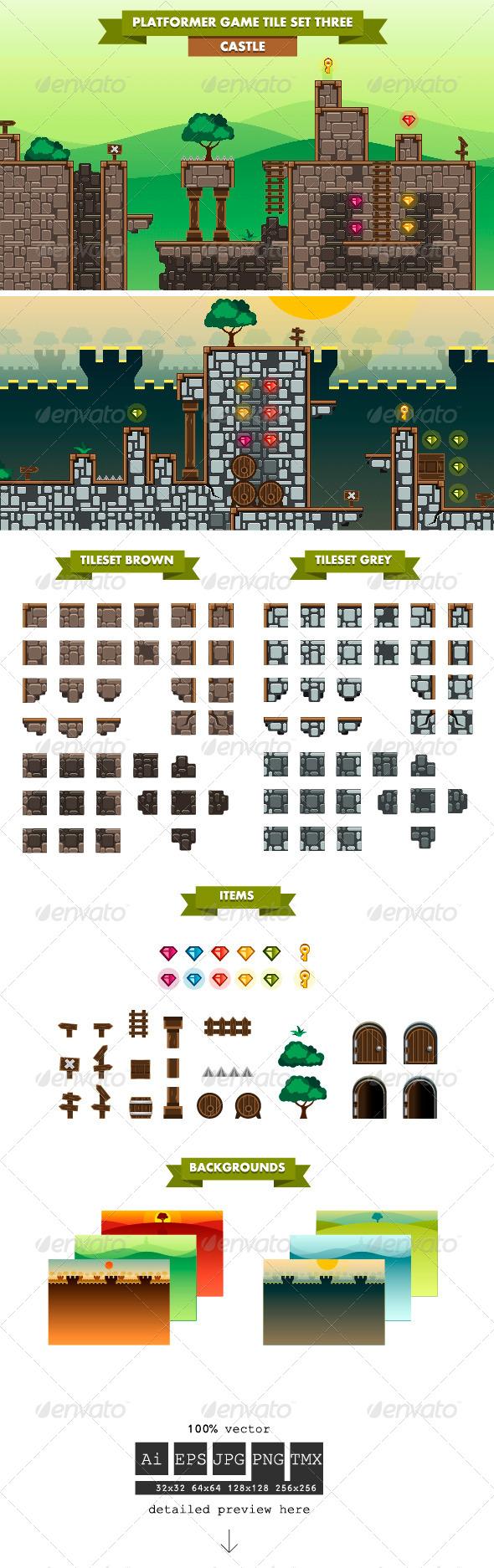 Platformer Game Tile Set Three - Tilesets Game Assets
