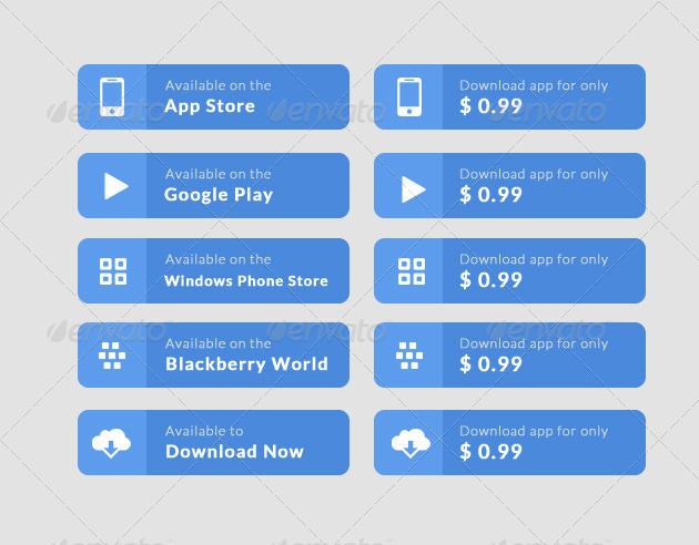 Flat App Download Button