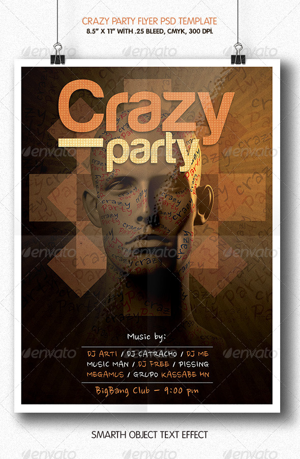 Crazy Party | Flyer Template - Clubs & Parties Events