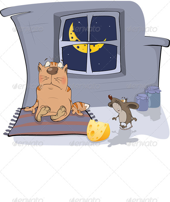 About a Cat and a Mouse Cartoon  - Animals Characters