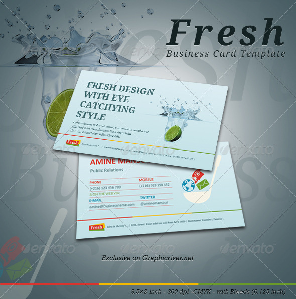 Fresh Business Card Template - Corporate Business Cards