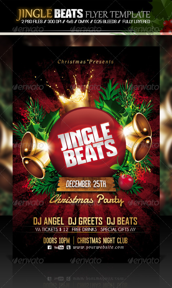Jingle Beats Christmas Party Flyer Template - Events Flyers