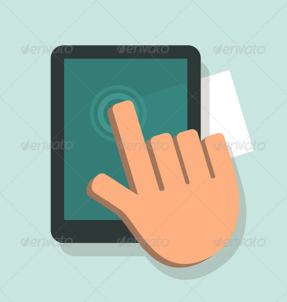Hand Touching A Digital Tablet - Technology Conceptual