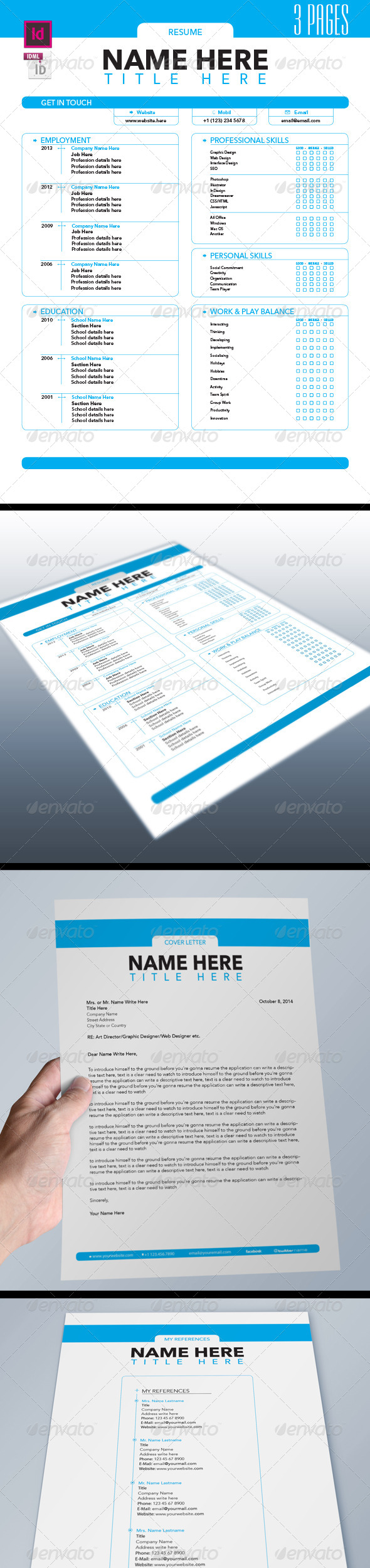 Job Resume Set 3 Pages - Resumes Stationery